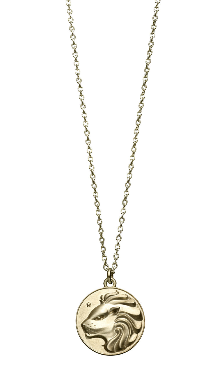 astrology sign leo vintage 10k gold pendent on long chain necklace by finn by candice pool neistat