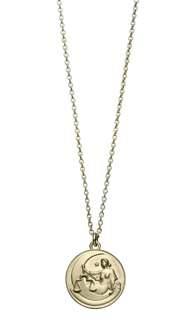 astrology sign libra vintage 10k gold pendent on long chain necklace by finn by candice pool neistat