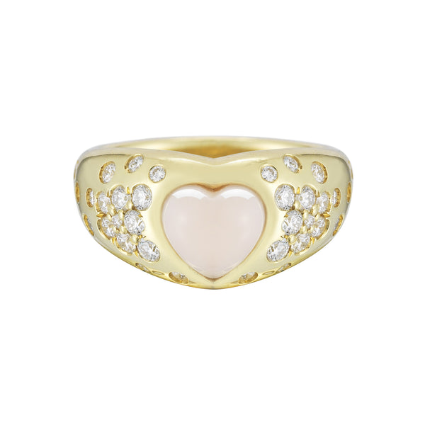 Coral Heart and Pave Diamond Gypsy Cocktail Ring - Finn