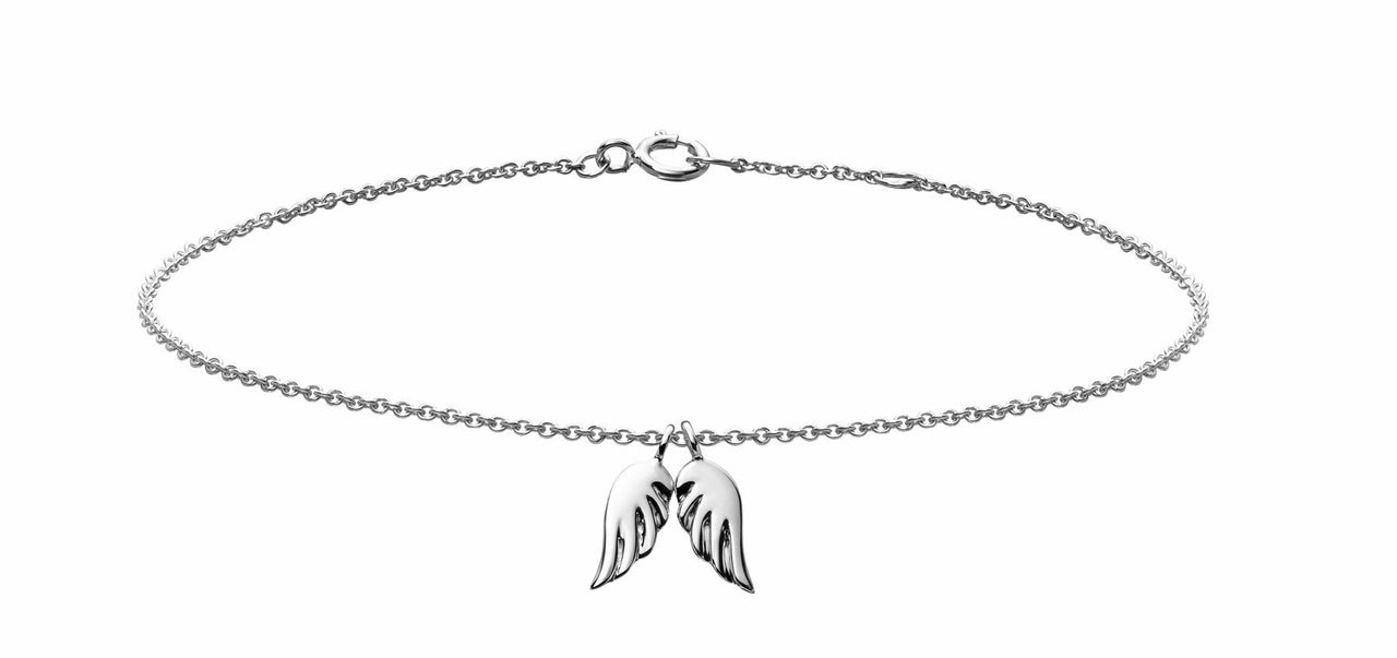 angel wings charm bracelet in 18k white gold by finn by candice pool neistat