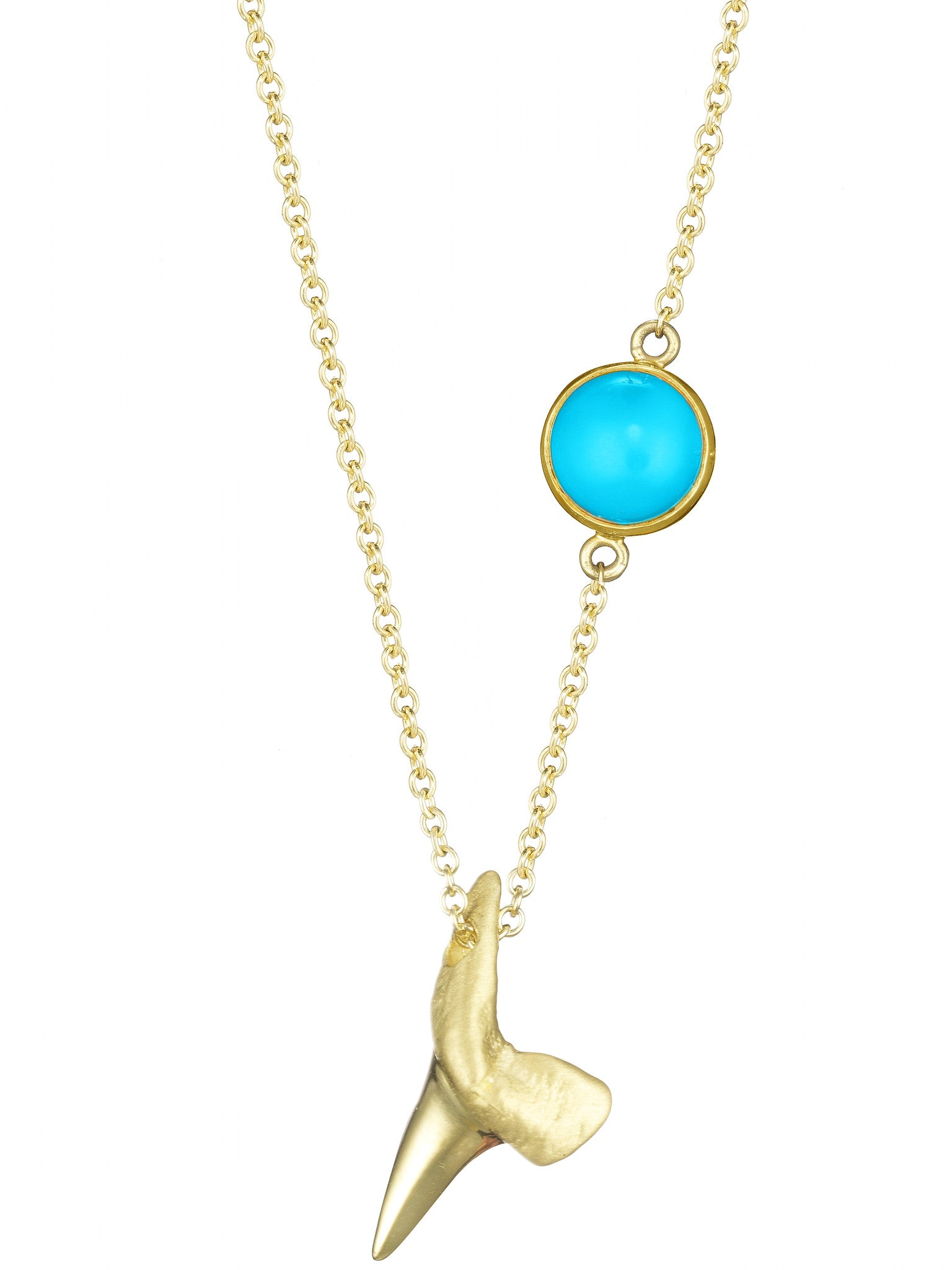 Baby Mako Tooth Necklace with Turquoise Cabochon - Finn