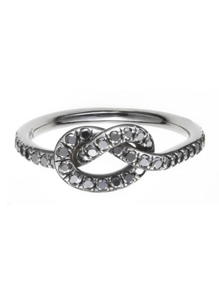 Large Black Diamond Love Knot Ring