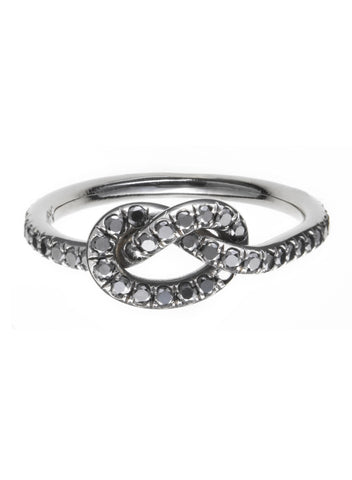 Large Black Diamond Love Knot Ring - Finn