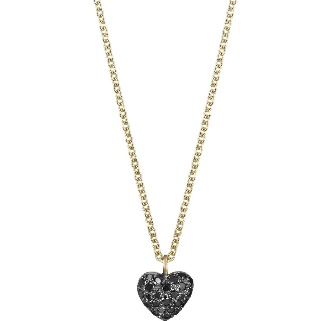 Small Black Diamond Heart Necklace