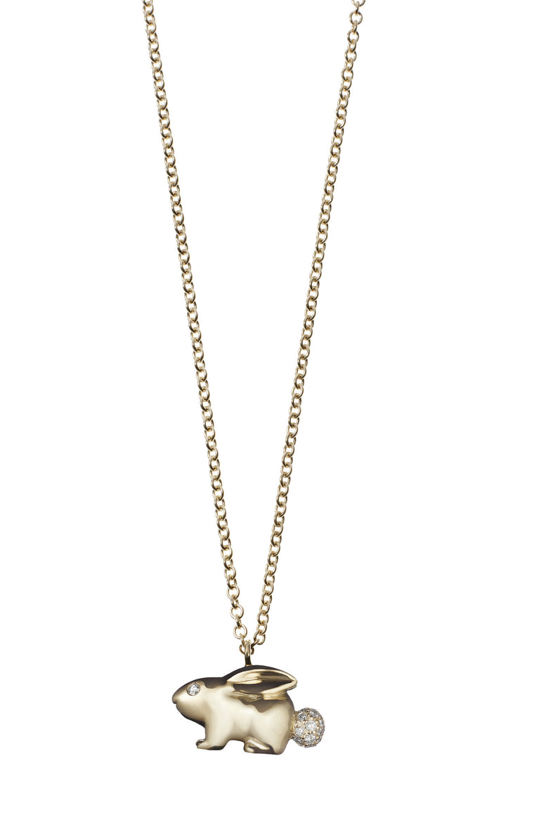 Solid Gold Rabbit Necklace