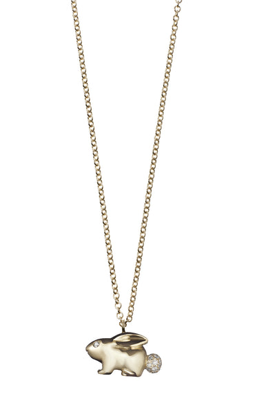 Solid Gold Bunny Necklace