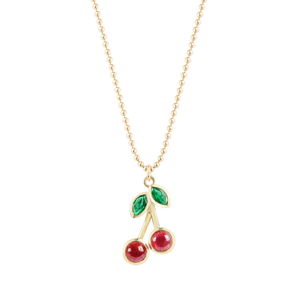 ruby cherry necklace in gold finn jewelry