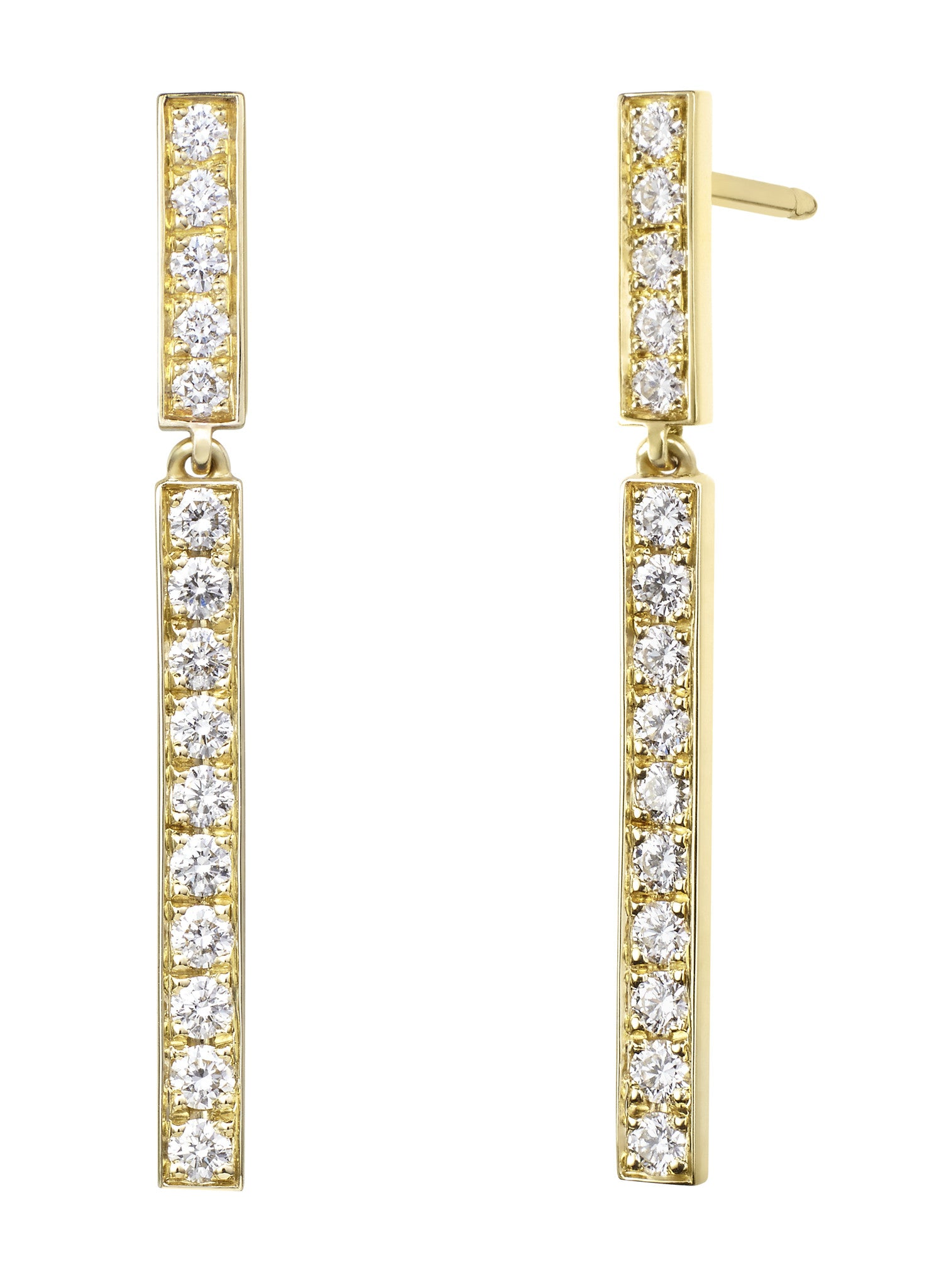 Diamond Bar Dangle Earrings - Finn