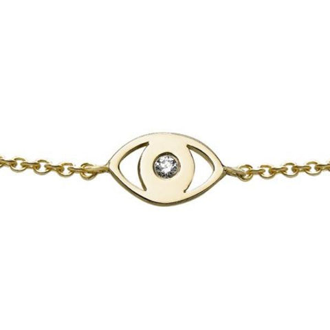 Diamond Evil Eye Charm Bracelet
