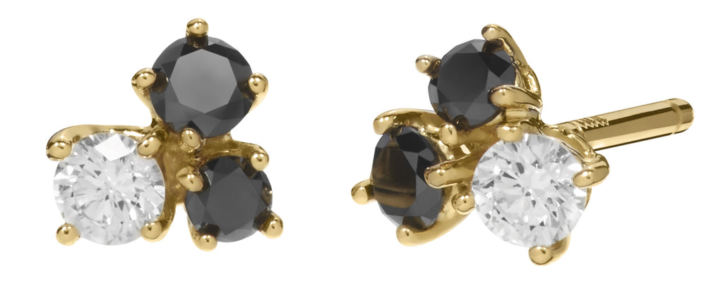 Black and White Diamond Cluster Studs