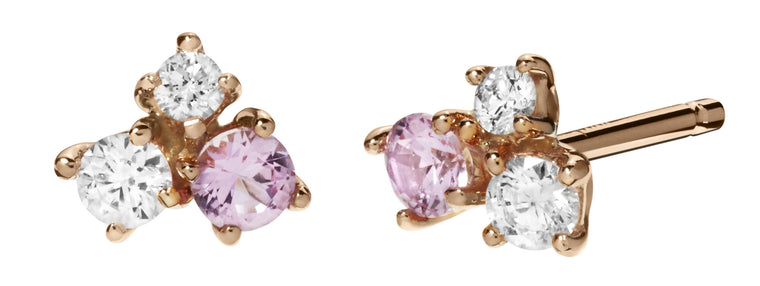 Pink Sapphire Cluster Studs