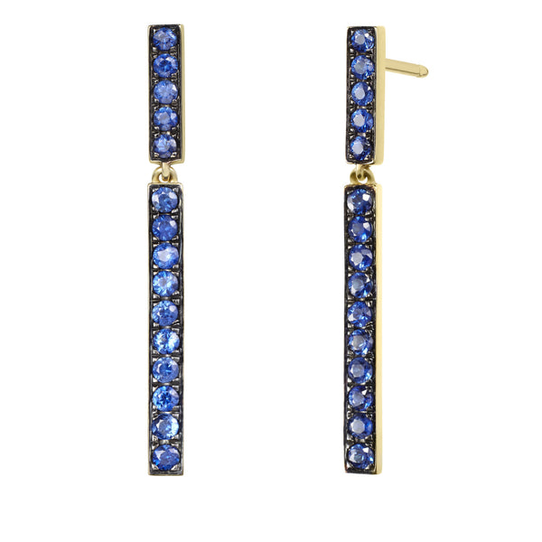 Sapphire Bar Dangle Earrings - Finn