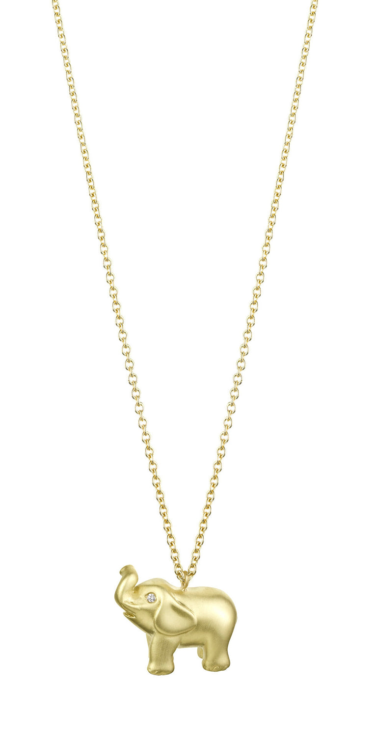 Solid Gold Elephant Necklace Finn