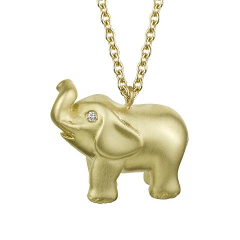 lucky elephant charm pendant necklace in solid 18k yellow gold with diamond eyes on long chain by finn by candice pool neistat