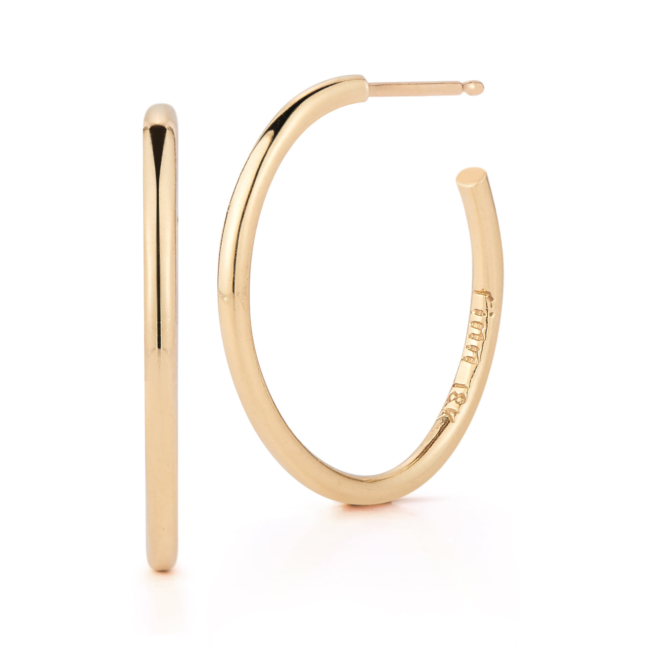 solid and lightweight day to night 18k gold hoop earrings by finn by candice pool neistat