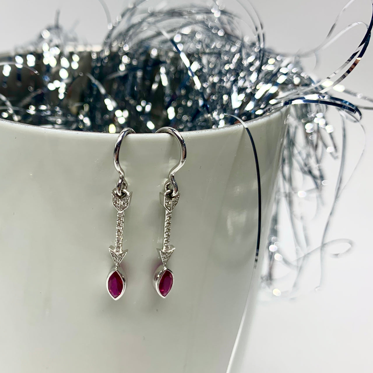 Ruby and Diamond Arrow Earring
