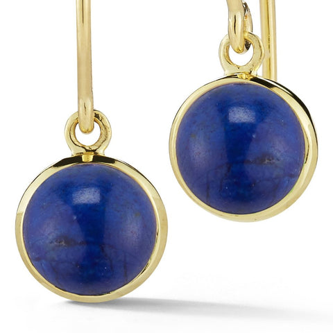 timeless everyday blue lapis cabochon earrings in 18k gold by finn by candice pool neistat