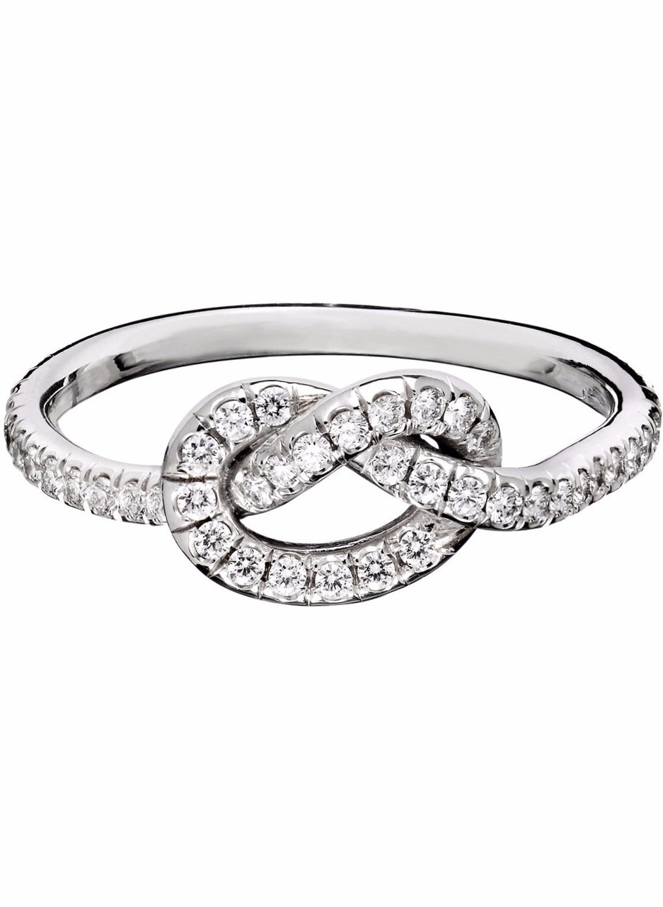 timeless pave diamond love knot ring in 18k white gold by finn by candice pool neistat