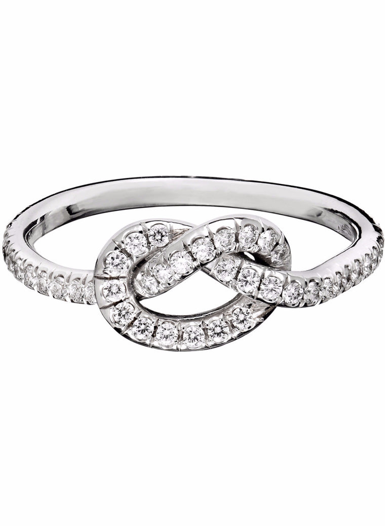 Large Diamond Love Knot Ring