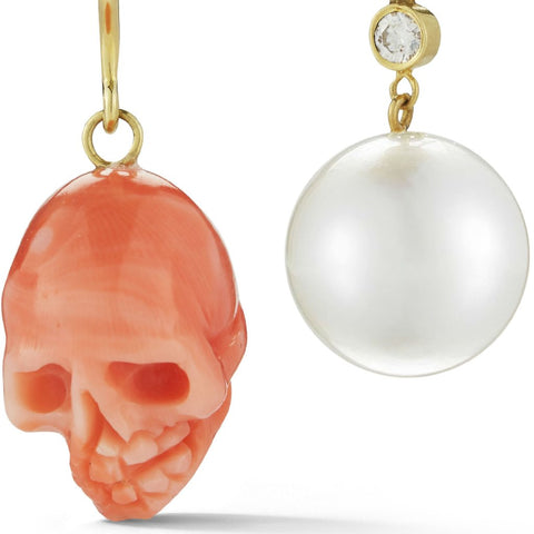 mismatched funky edgy coral red skull and pearl earring set in 18k gold by finn by candice pool neistat