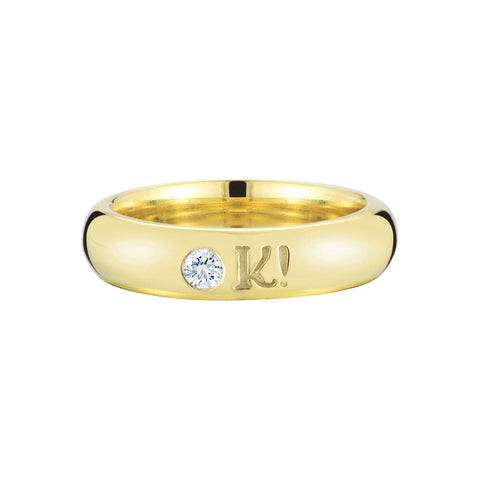 funky playful engraved NOPE and OK! diamond 18k yellow gold ring by finn by candice pool neistat