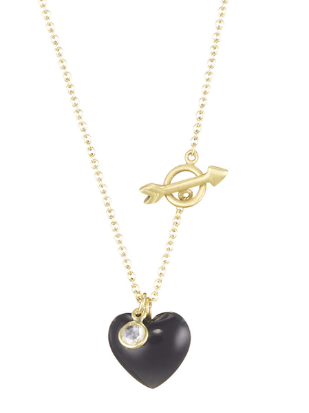 Onyx Heart & Arrow Necklace - Finn
