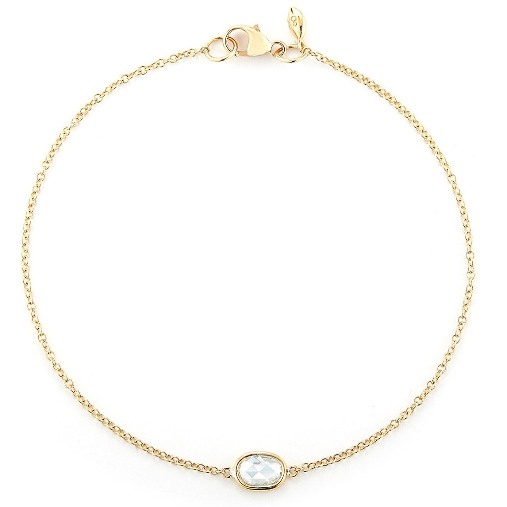 delicate 18k bracelet with small round diamond rose cut by finn by candice pool neistat perfect for Valentines Day