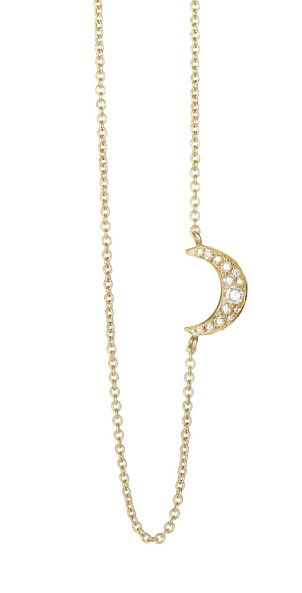 Pave Moon Necklace - Finn
