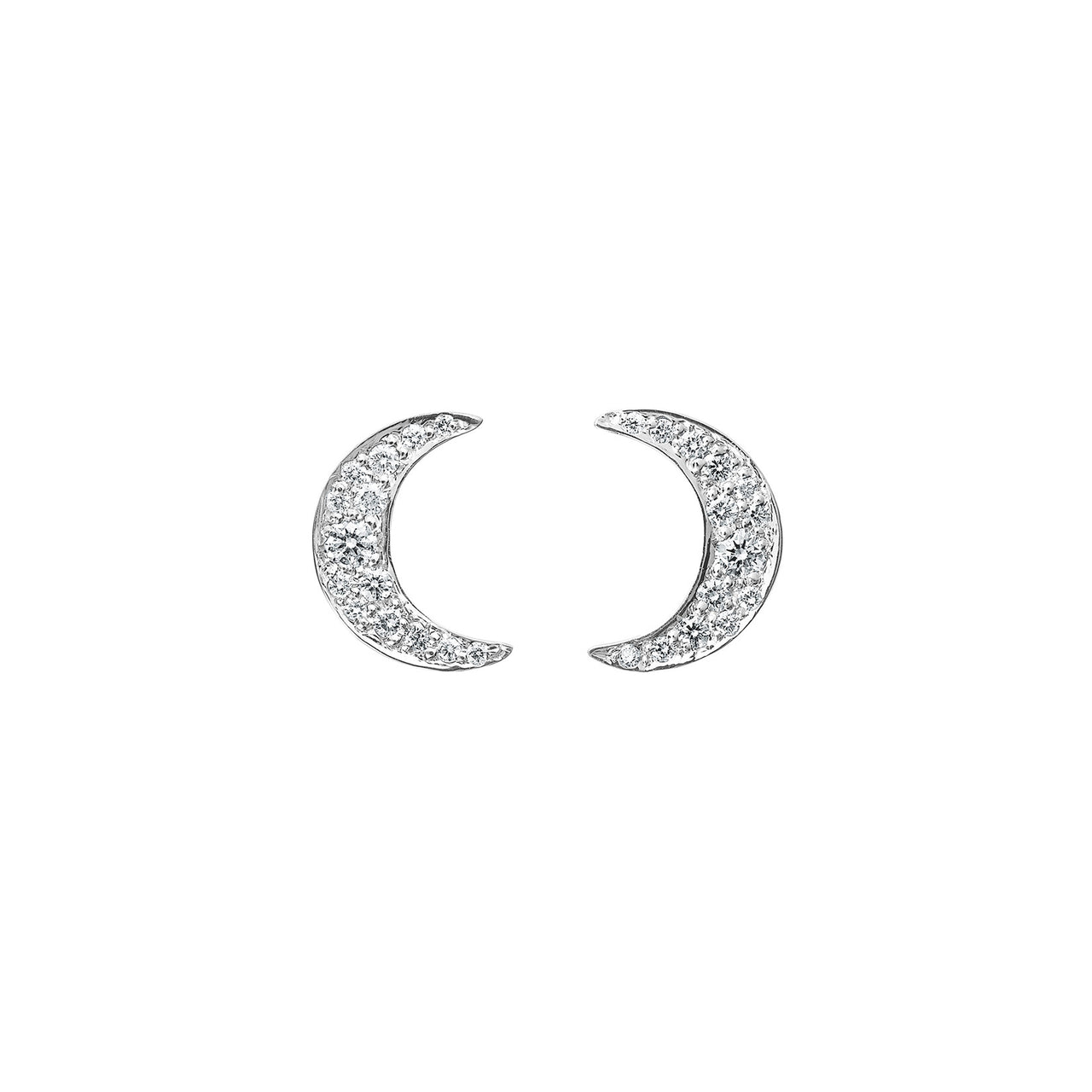 tiny simple diamond crescent moon earring studs in 18k white gold by finn by candice pool neistat