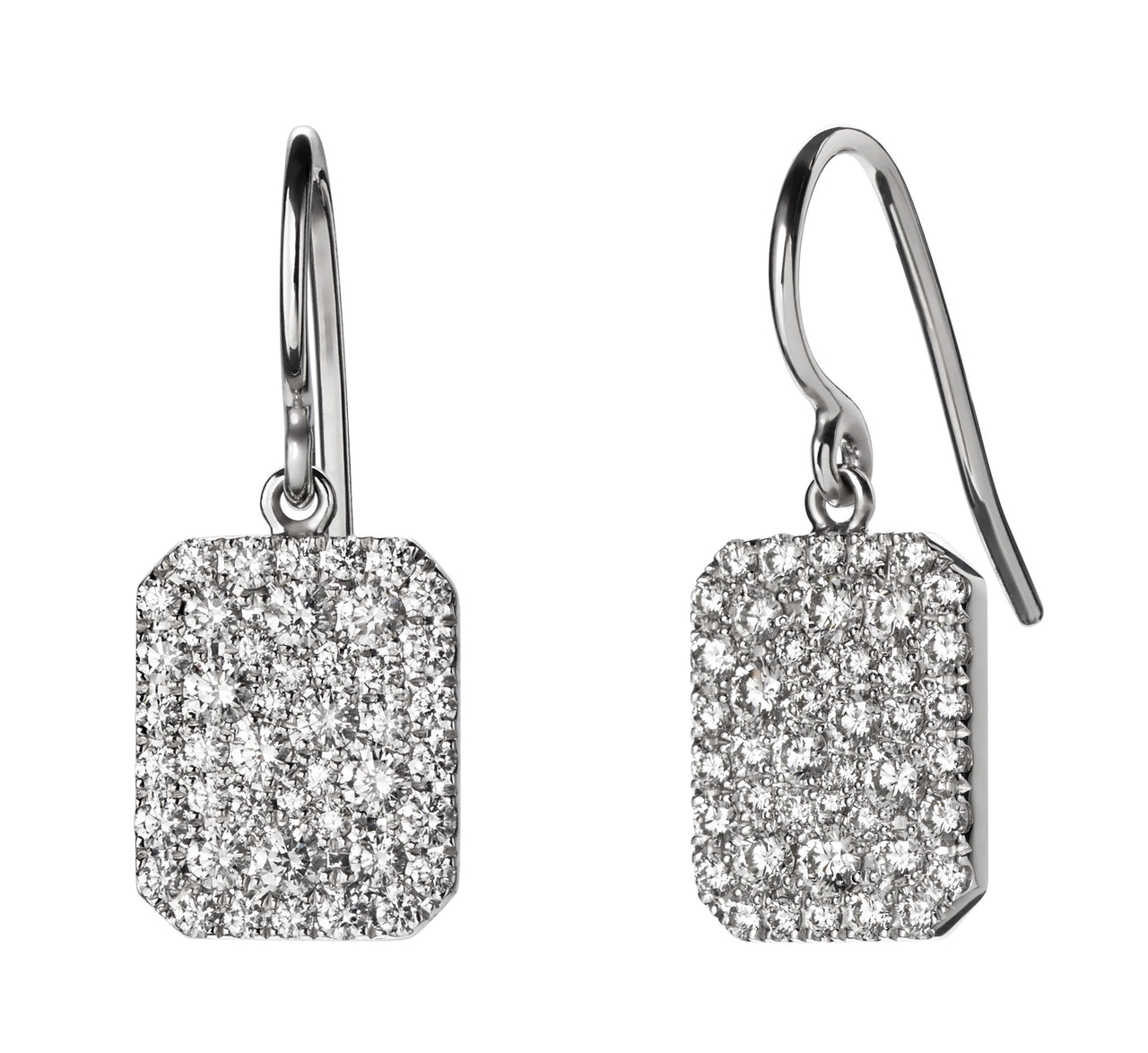 lightweight sparkly mismatched pave diamond square scapular dangle earrings by finn by candice pool neistat