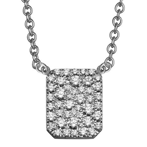 square pave diamond tag necklace in 18k white gold by finn by candice pool neistat perfect for Valentines Day