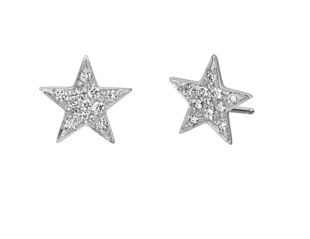 little star pave diamond encrusted stud earrings in 18k white gold by finn by candice pool neistat