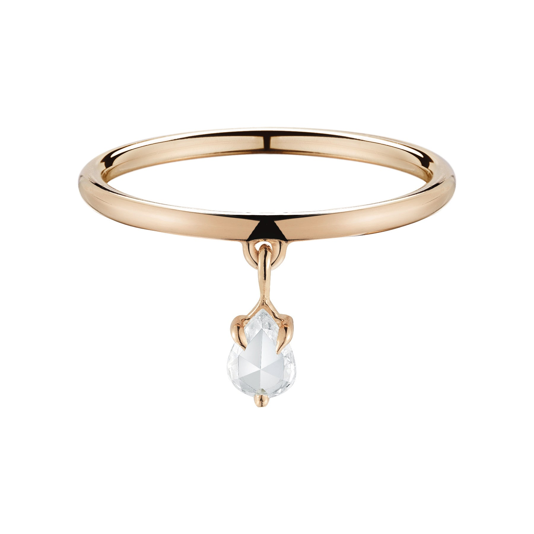 Rose Gold Pear Rose Cut Ring - Finn