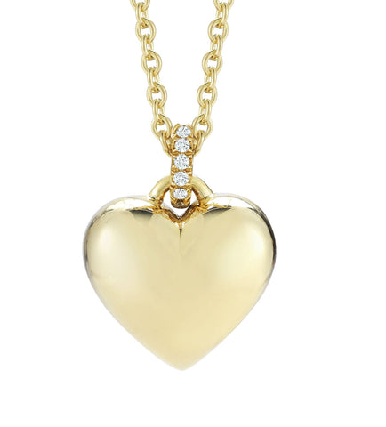 simple 18k yellow gold heart pendant necklace with engraving by finn by candice pool neistat