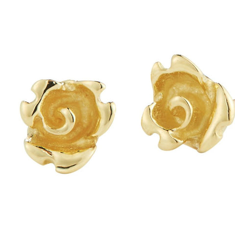 simple rose flower bud stud earrings in 18k gold by finn by candice pool neistat