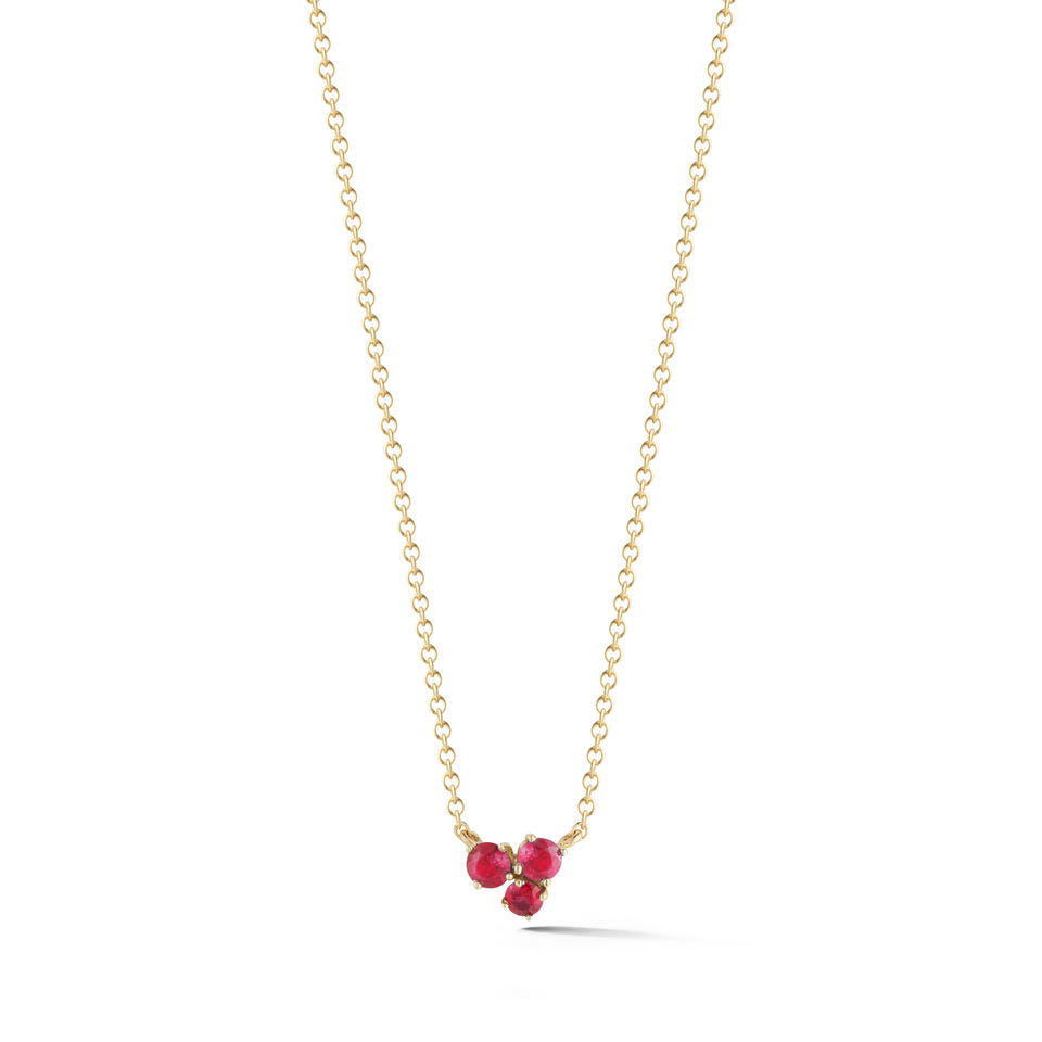 playful yet classic 18k gold cluster ruby necklace with .13 cts total ruby by finn by candice pool neistat perfect for valentines day