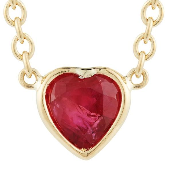 Wrapped Ruby Heart Necklace