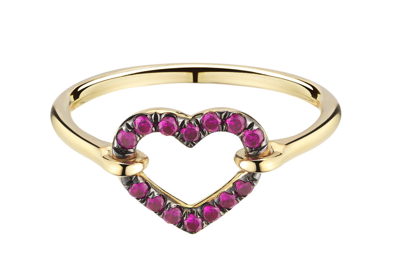 special oxblood red ruby open heart love ring in 18k gold by finn by candice pool neistat