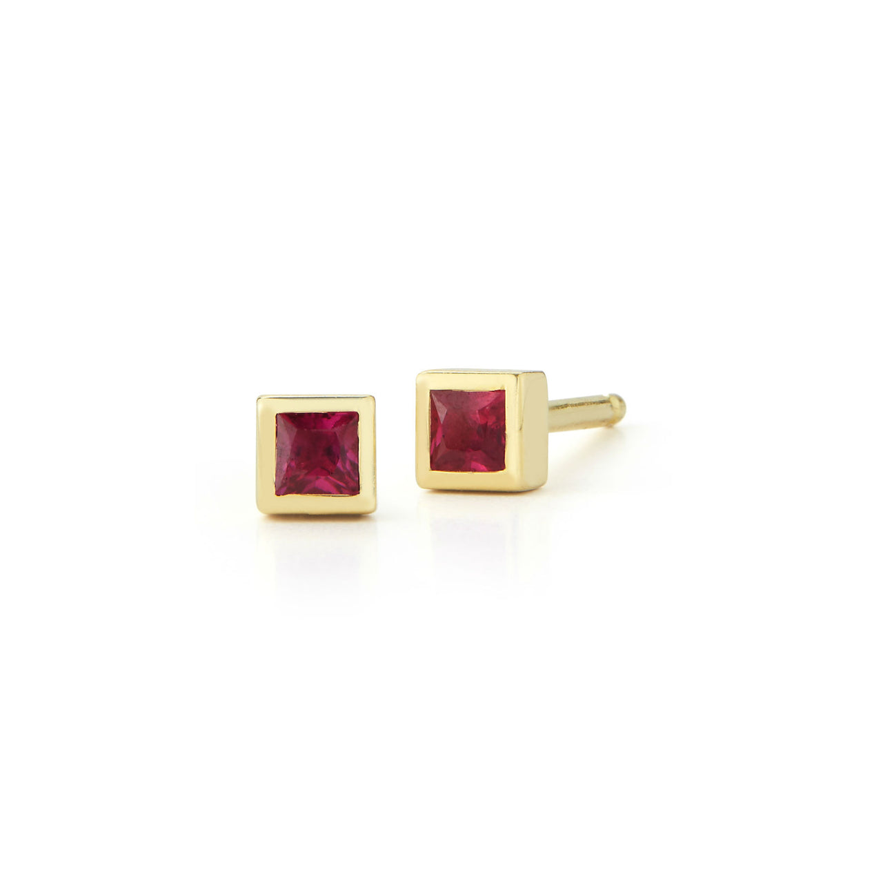 14k rose gold 2mm square ruby micro stud earring by Finn by Candice Pool Nesitat perfect for Valentines Day
