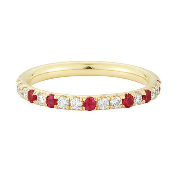 Finn unique Speckled Diamond and Ruby Eternity Band perfect for Valentines Day!