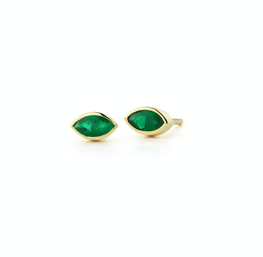 emerald marquis stud earrings in 18k gold