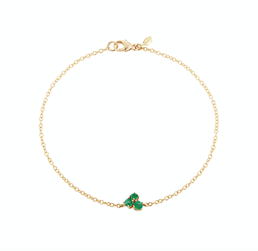 modern everyday 18k gold solitaire bracelet with emeralds by finn by candice pool neistat
