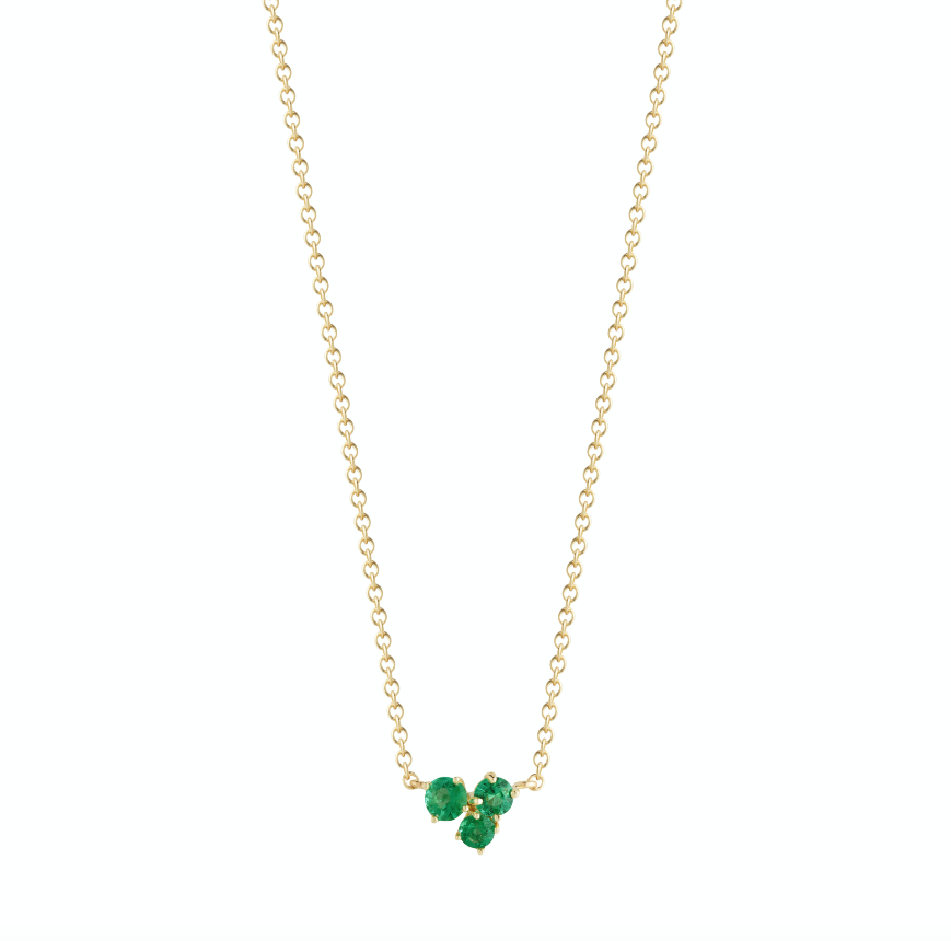 modern everyday 18k gold solitaire necklace with emeralds by finn by candice pool neistat