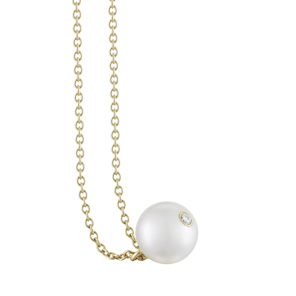 Petit pearl pendant necklace on gold chain by finn by candice pool neistat