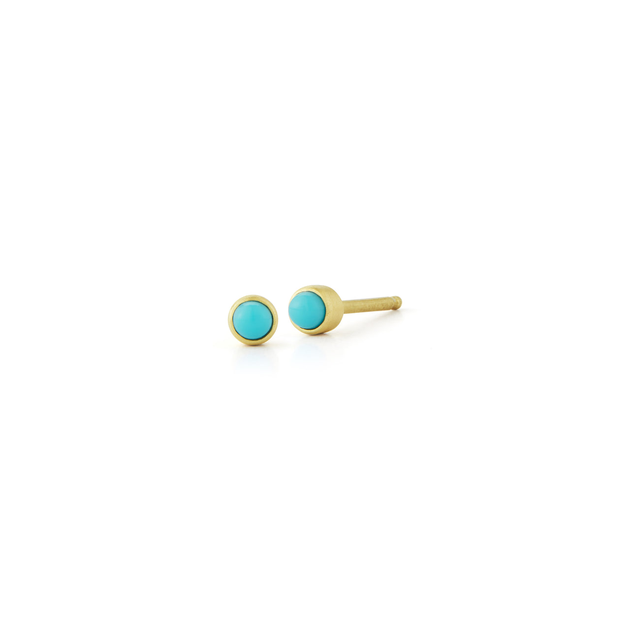simple everyday turquoise blue stud earring in 14k satin gold for summer by finn by candice pool neistat