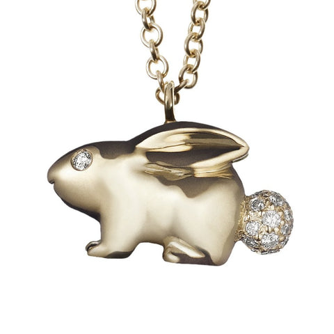 cute bunny rabbit charm with pave diamond cottontail necklace in solid 18k gold on long chain by finn by candice pool neistat