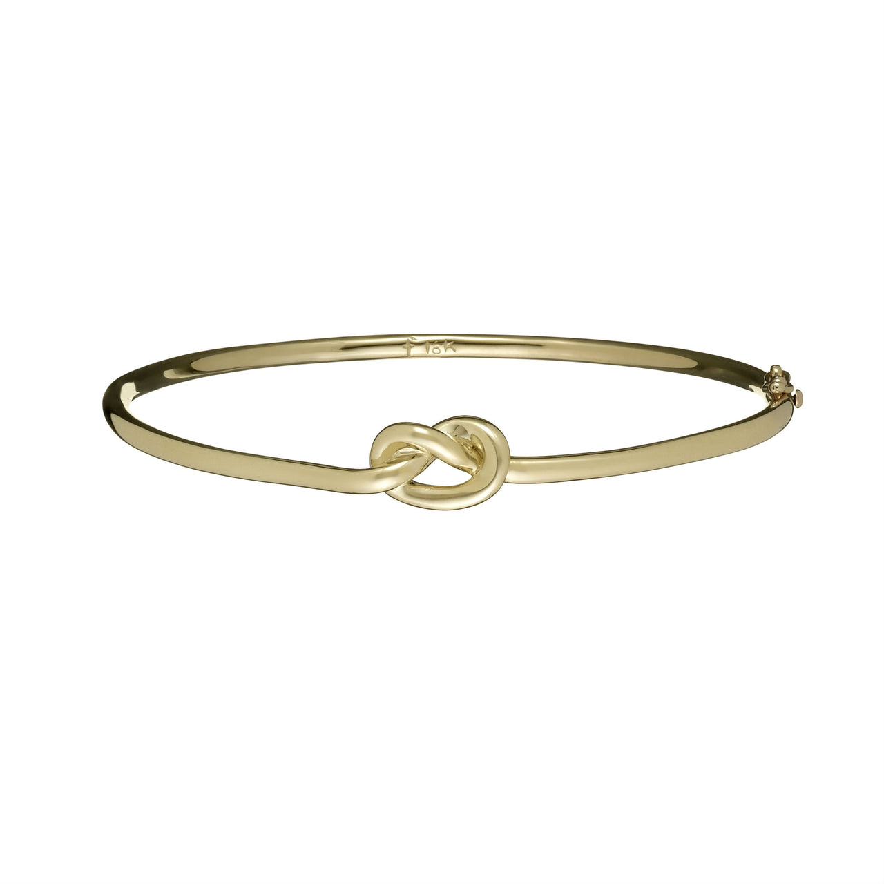 18k yellow gold love knot bangle by Finn by Candice Pool Neistat perfect for Valentines Day