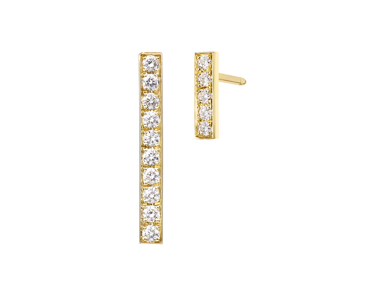 Mismatched Diamond Bar Earrings