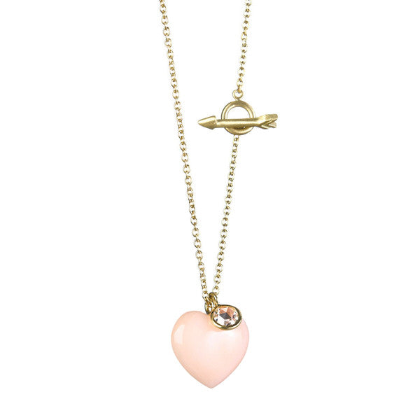 Coral Heart & Arrow Toggle Necklace - Finn