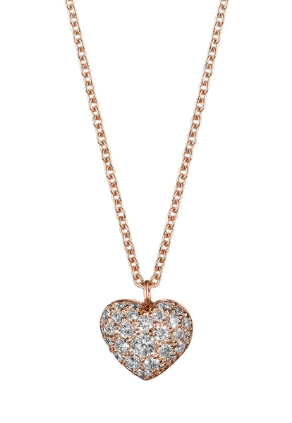 Rose Gold Diamond Heart Necklace - Finn